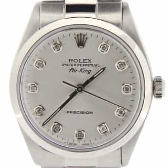 Mens Rolex Stainless Steel Air-King Silver Diamond 5500 (SKU 9762957AOYSCMT)