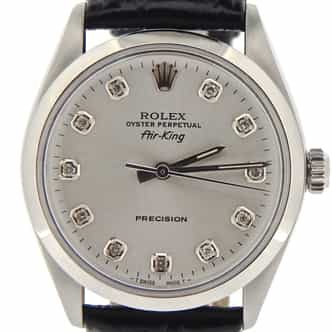 Mens Rolex Stainless Steel Air-King Silver Diamond 5500 (SKU 9762957NBLKCMT)