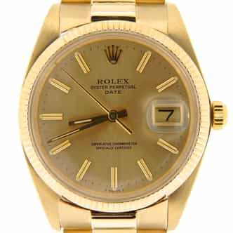 Mens Rolex 14K Yellow Gold Date Champagne 1503 (SKU 6196018NBMT)