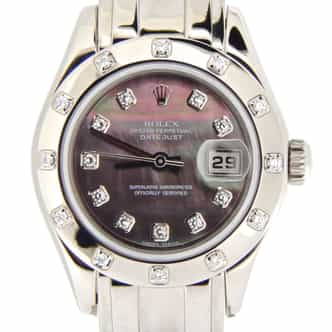 Ladies Rolex 18K White Gold Datejust Pearlmaster Tahitian Diamond 80319 (SKU P901158NMT)