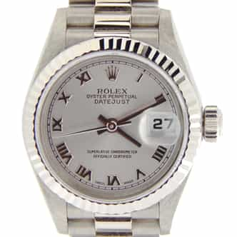 Ladies Rolex 18K White Gold Datejust President Silver Roman 69179 (SKU A811688NMT)