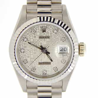 Ladies Rolex 18K White Gold Datejust President Silver Diamond 69179 (SKU L853088NMT)
