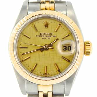 Ladies Rolex Two-Tone 18K/SS Date Gold Linen 69173 (SKU U264573NJUBMT)