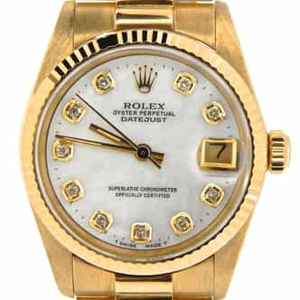 Pre Owned Mid-Size Rolex Yellow Gold Datejust President MOP Diamond 6827 (SKU 682718KM)