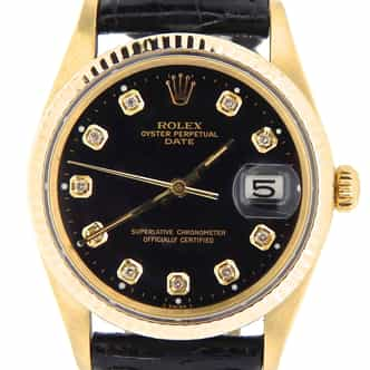 Mens Rolex 14K Yellow Gold Date Black Diamond 15037 (SKU 2108922BLKB)