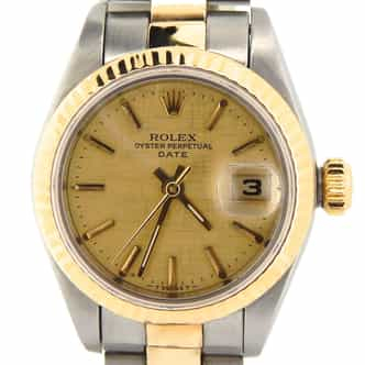 Ladies Rolex Two-Tone 18K/SS Date Gold Linen 69173 (SKU U264573NOYSMT)