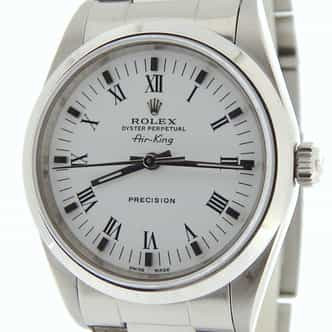 Mens Rolex Stainless Steel Air-King White Roman 14000 (SKU A366537NOYSCMT)