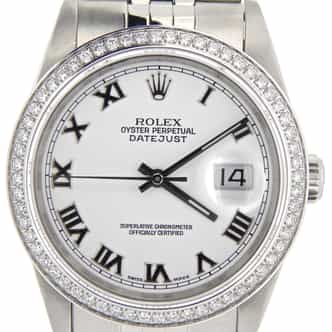 Mens Rolex Stainless Steel Datejust White Roman Diamond (SKU R890141NM)