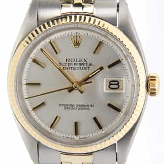 Mens Rolex Two-Tone 14K/SS Datejust Silver  1601 (SKU 1030602NMT)