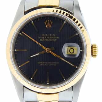 Mens Rolex Two-Tone 18K/SS Datejust Black  16233 (SKU S480823NBCMT)