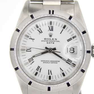 Mens Rolex Stainless Steel Date White Roman 15010 (SKU 8258883NMT)