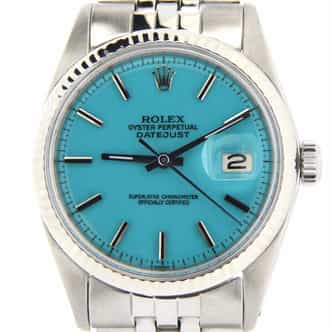 Mens Rolex Datejust Ref 1601 Stainless Steel With Turquoise Dial (SKU 999039NBMT)