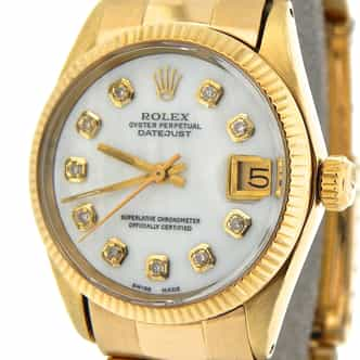 Pre Owned Mid-Size Rolex Yellow Gold Datejust President MOP Diamond 6827 (SKU 3858442NM)