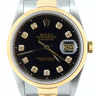 Mens Rolex Two-Tone 18K/SS Datejust Black Diamond 16233 (SKU L275995NORIMT)