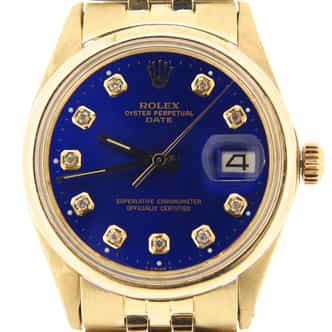 Mens Rolex 14K Yellow Gold Date Diamond Blue (SKU 2621846BMT)