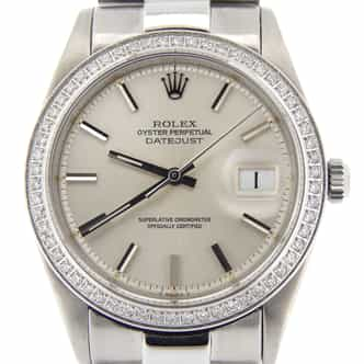 Mens Rolex Stainless Steel Datejust Silver  Diamond (SKU 1880778MPRZMT)
