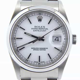 Mens Rolex Stainless Steel Datejust White  16200 (SKU Y485331BMT)