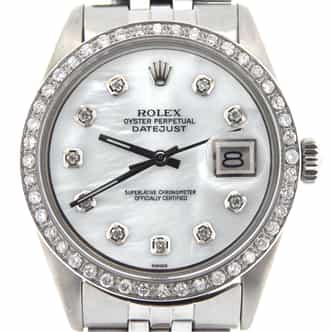 Mens Rolex Stainless Steel Datejust White MOP Diamond (SKU 1009925NJUBMT)