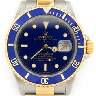 Mens Rolex Two-Tone 18K/SS Submariner Blue  16613T (SKU Z433029NNMT)
