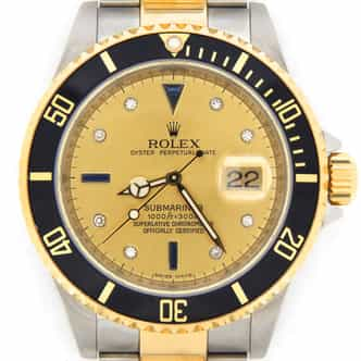 Mens Rolex Two-Tone Submariner Champagne Diamond 16613T (SKU M453566NNMT)