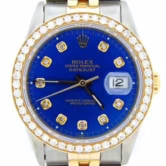 Mens Rolex Two-Tone 18K/SS Datejust Blue Diamond 16233 (SKU L779984CMT)