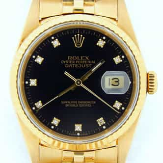 Mens Rolex 18K Yellow Gold Datejust Black Diamond 16238 (SKU X504746NMT)