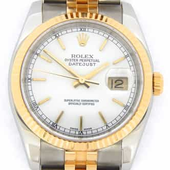 Mens Rolex Two-Tone 18K/SS Datejust White  116233 (SKU F493178WNBCMT)