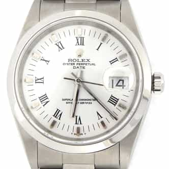 Mens Rolex Stainless Steel Date White Roman 15200 (SKU F238919MT)