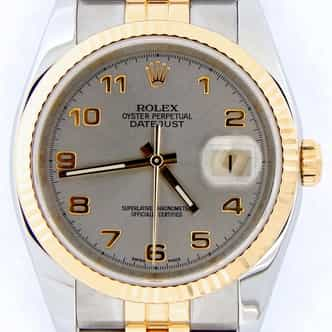 Mens Rolex Two-Tone 18K/SS Datejust Gray Slate Arabic 116233 (SKU F493178BCMT)