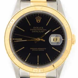 Mens Rolex Two-Tone 18K/SS Datejust Turn-O-Graph Black  16263 (SKU U782383MT)