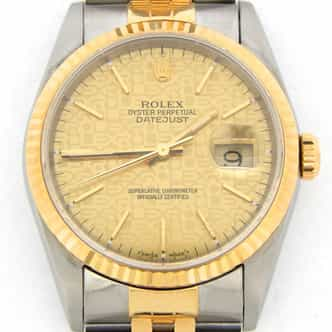 Mens Rolex Two-Tone 18K/SS Datejust Champagne  16233 (SKU T522915NBCMT)
