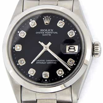 Mens Rolex Stainless Steel Date Black Diamond 1500 (SKU 2590709DMT)