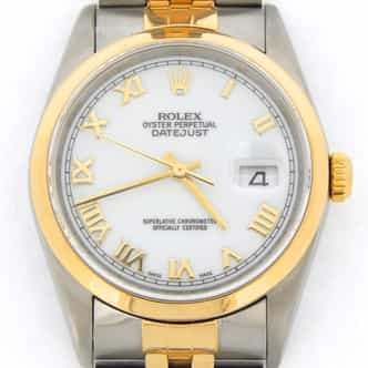 Mens Rolex Two-Tone 18K/SS Datejust White Roman 16203 (SKU K101218JMT)