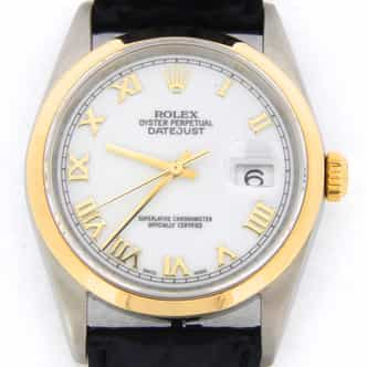 Mens Rolex Two-Tone 18K/SS Datejust White Roman 16203 (SKU K101218MT)