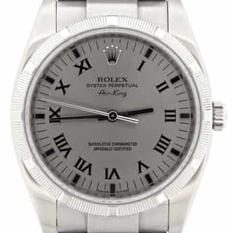 Mens Rolex Stainless Steel Air-King Silver Gray Roman 114210 (SKU M598690MT)