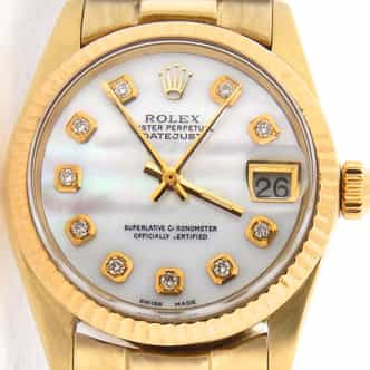 Mid Size Rolex 18K Yellow Gold Datejust President White MOP Diamond 6827 (SKU 6827SGWNMT)