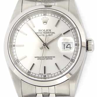 Mens Rolex Stainless Steel Datejust Silver  16200 (SKU Y485331SNMT)