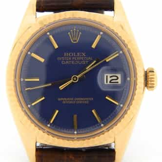 Mens Rolex 18K Yellow Gold Datejust Blue 1601 (SKU 1609598NBRNCMT)