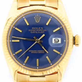 Mens Rolex 18K Yellow Gold Datejust Blue  1601 (SKU 1609598DMDMT)