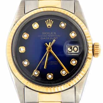 Mens Rolex Two-Tone Datejust Blue Diamond 1601 (SKU 3501756BCMT)