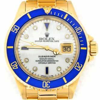 Mens Rolex 18K Yellow Gold Submariner White MOP Diamond Blue 16618 (SKU K851138NNMT)