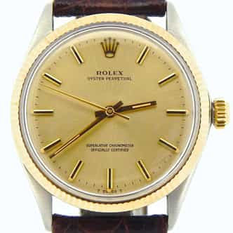 Mens Rolex Two-Tone 14K/SS Oyster Perpetual Champagne  1005 (SKU 229849NNCMT)