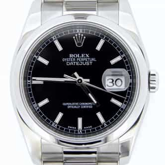 Mens Rolex Stainless Steel Datejust Black  116200 (SKU D588198MT)