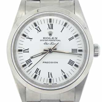 Mens Rolex Stainless Steel Air-King White Roman 14000 (SKU E521878MCMT)