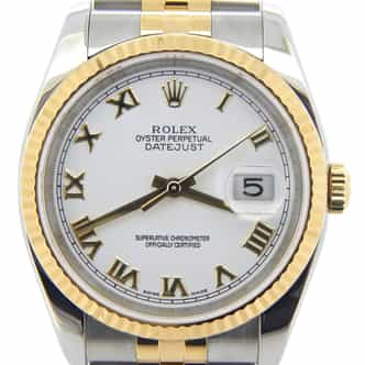 Mens Rolex Two-Tone 18K/SS Datejust White Roman 116233 (SKU D376809MT)