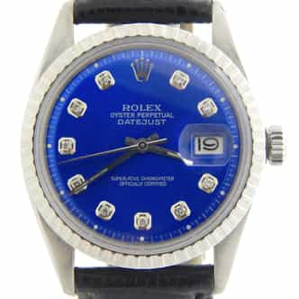 Mens Rolex Stainless Steel Datejust Blue Diamond 1603 (SKU 3391282MT)