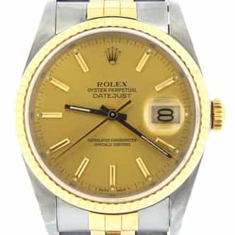 Mens Rolex Two-Tone 18K/SS Datejust Champagne  16233 (SKU R952591MT)