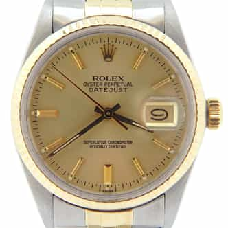 Mens Rolex Two-Tone 14K/SS Datejust Champagne  16013 (SKU 6493958BCMT)