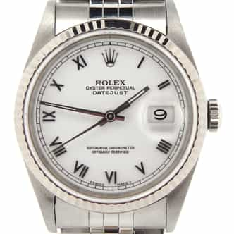 Mens Rolex Stainless Steel Datejust White Roman 16234 (SKU S177557NMT)