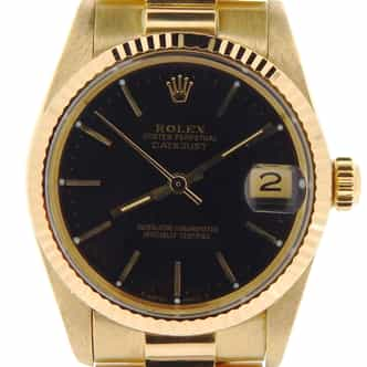 Pre Owned Mid-Size Rolex Yellow Gold Datejust President with a Black Dial 6827 (SKU 7334276MT)